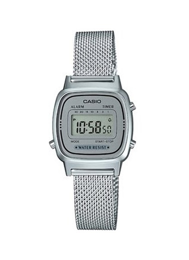 Casio La670Wem7Df Retro Çelik Hasır Kayış Kadran Su Geçirmez Dijital Kadın Kol Saati Gri